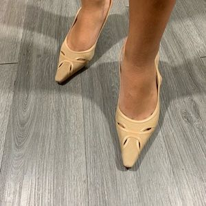 Ann Taylor New Beige Suede/Leather Slingback Heels